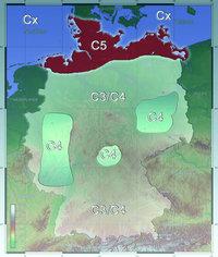Verteilung der Korrosivitätskategorien C3 (mittel) bis Cx (exttrem) in Deuschland