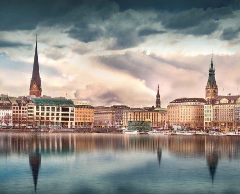 Blick auf Hamburg Binnenalster