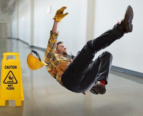 Boden ohne Antirutschbeschichtung Rutschgefahr fallende Person