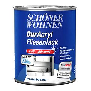 SCHÖNER WOHNEN DurAcryl 1K Fliesenlack Acryl-Dispersion, PU-verstärkt auf Wasserbasis (für Wandfliesen)